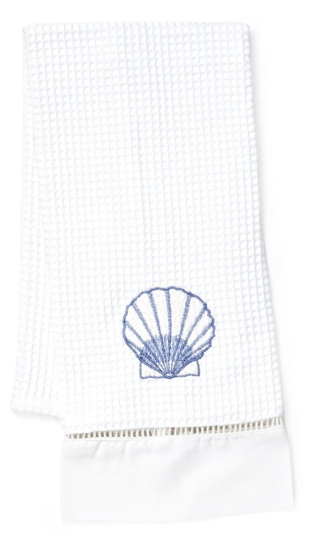 Scallop Waffle Weave Guest Towel, Blue
