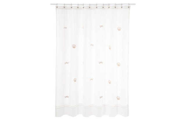Scallop & Starfish Shower Curtain, Beige