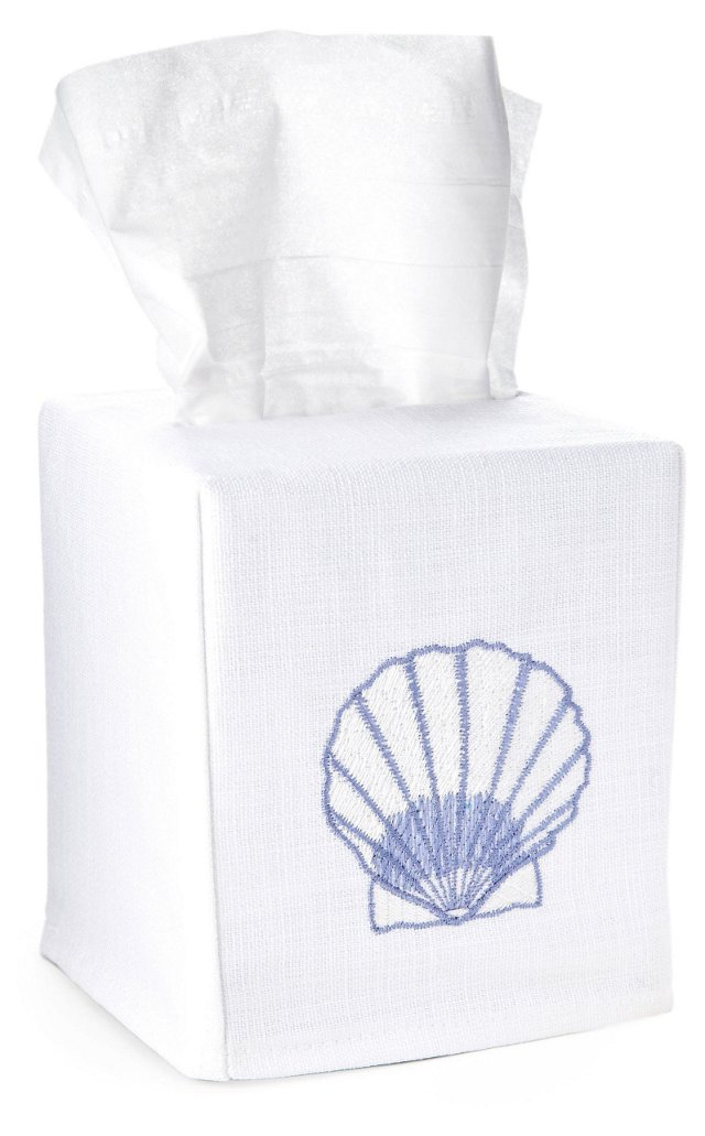 Scallop Tissue Box Cover, Blue/White