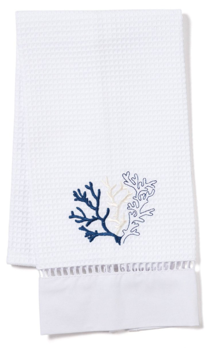 Coral Waffle Weave Guest Towel, Blue