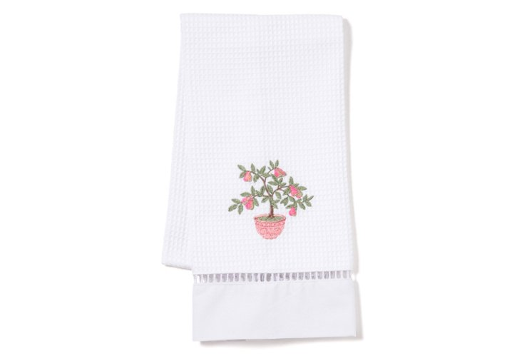 Pear Tree Waffle-Weave Guest Towel, Pink