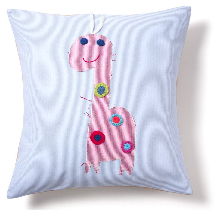 Giraffe 16x16 Pillow, Red/Blue