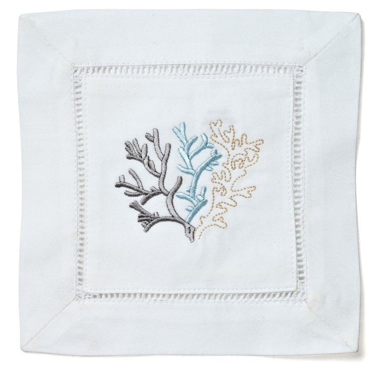 S/4 Coral Cocktail Napkins