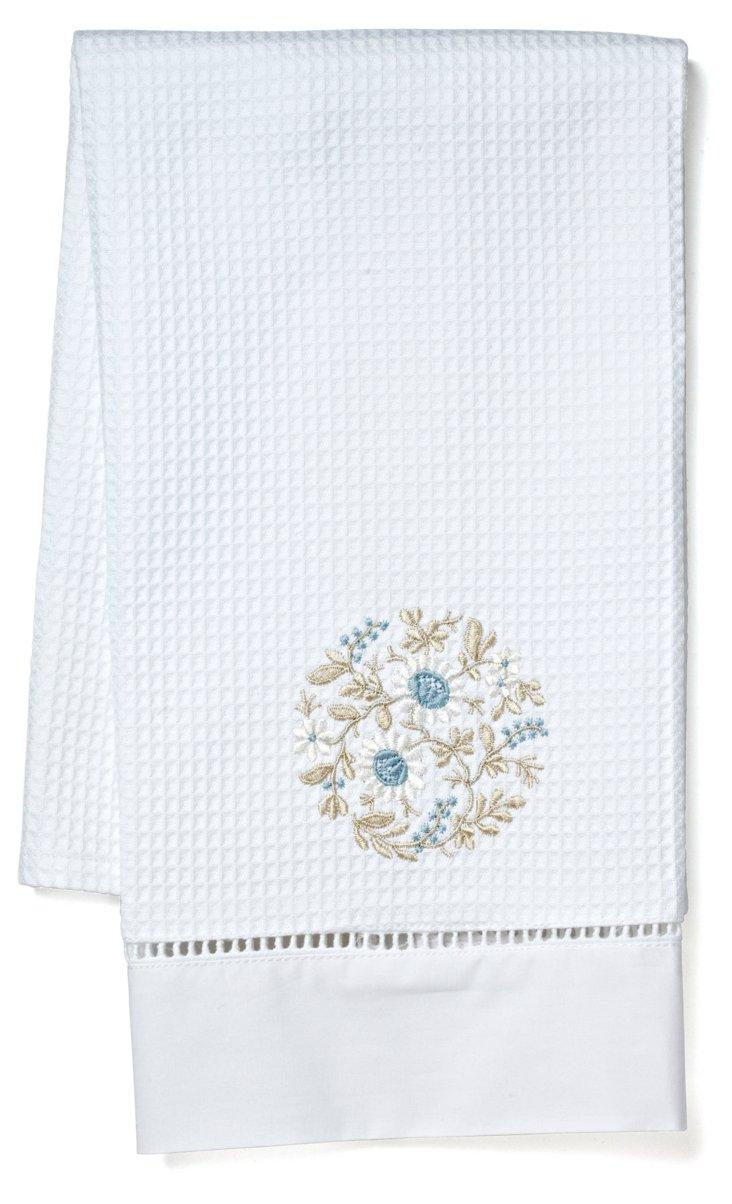 Flower Wheel Guest Towel, Lt Blue/Beige