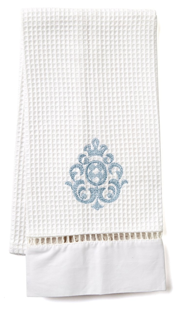 Imperial Scroll Waffle Guest Towel, Blue