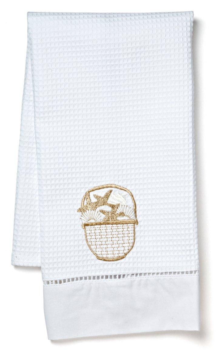 Seashell Waffle Guest Towel, Beige