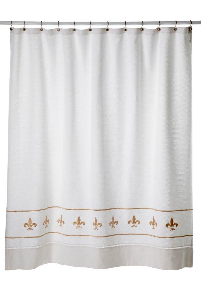 Fleur-de-Lis Pique Shower Curtain, Beige