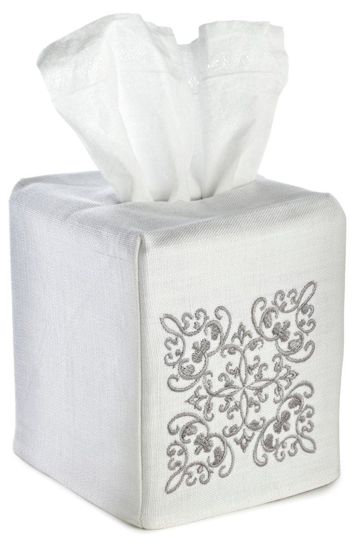 Corsican Tissue Box Cover, Pewter/White