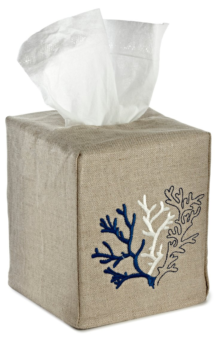 Natural Coral Tissue Box Cover, Navy