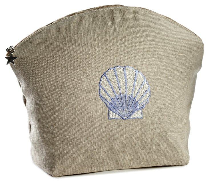 Scallop Natural Linen Cosmetic Bag, Blue