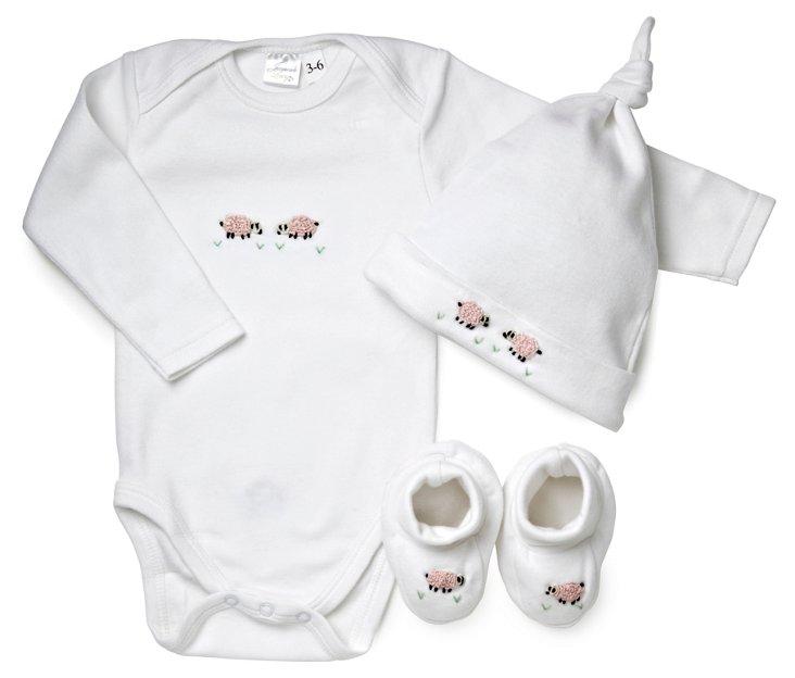 Pink Sheep Long Sleeve Onesie Set