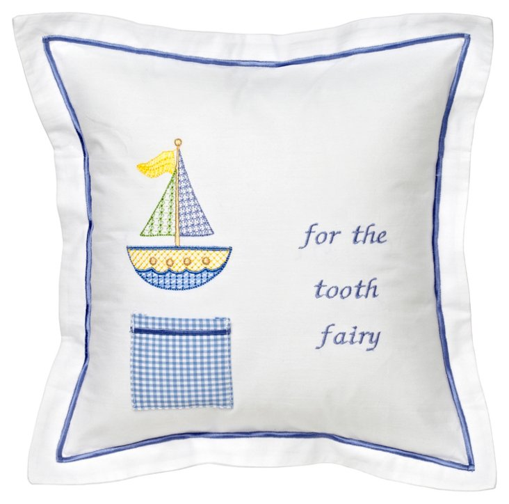Sailboat Tooth Fairy Pillow Cover, Blue
