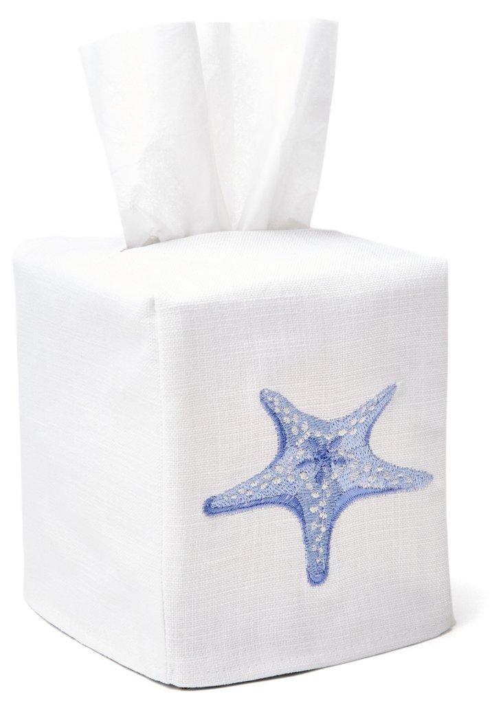Starfish Tissue Box Cover, Aqua