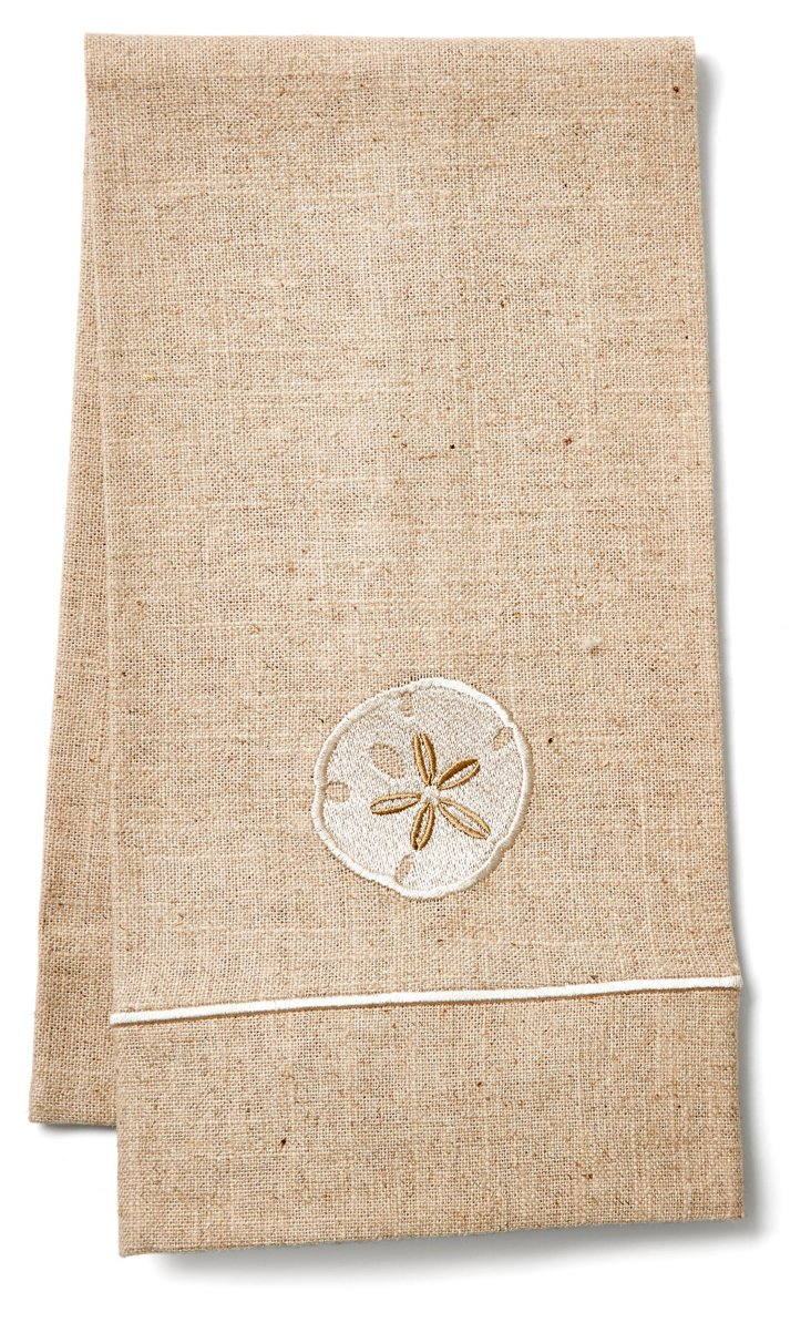 Sand Dollar Natural Linen Towel, Cream