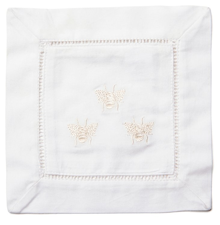 S/4 Three Bees Cocktail Napkins, Cream