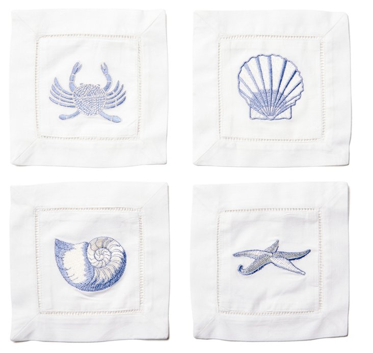 S/4 Asst Sea Life Cocktail Napkins, Blue