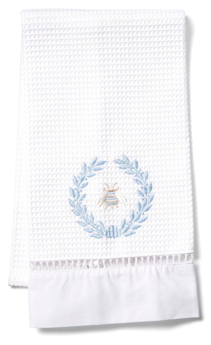 Napoleon Bee Wreath Waffle Towel, Blue