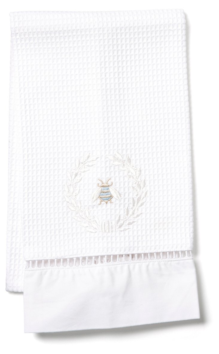 Napoleon Bee Wreath Waffle Towel, White