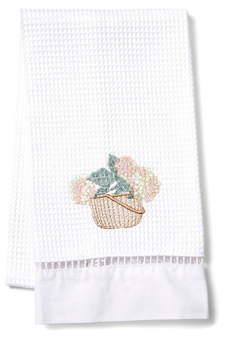 Hydrangea Basket Guest Towel, Cream/Pink