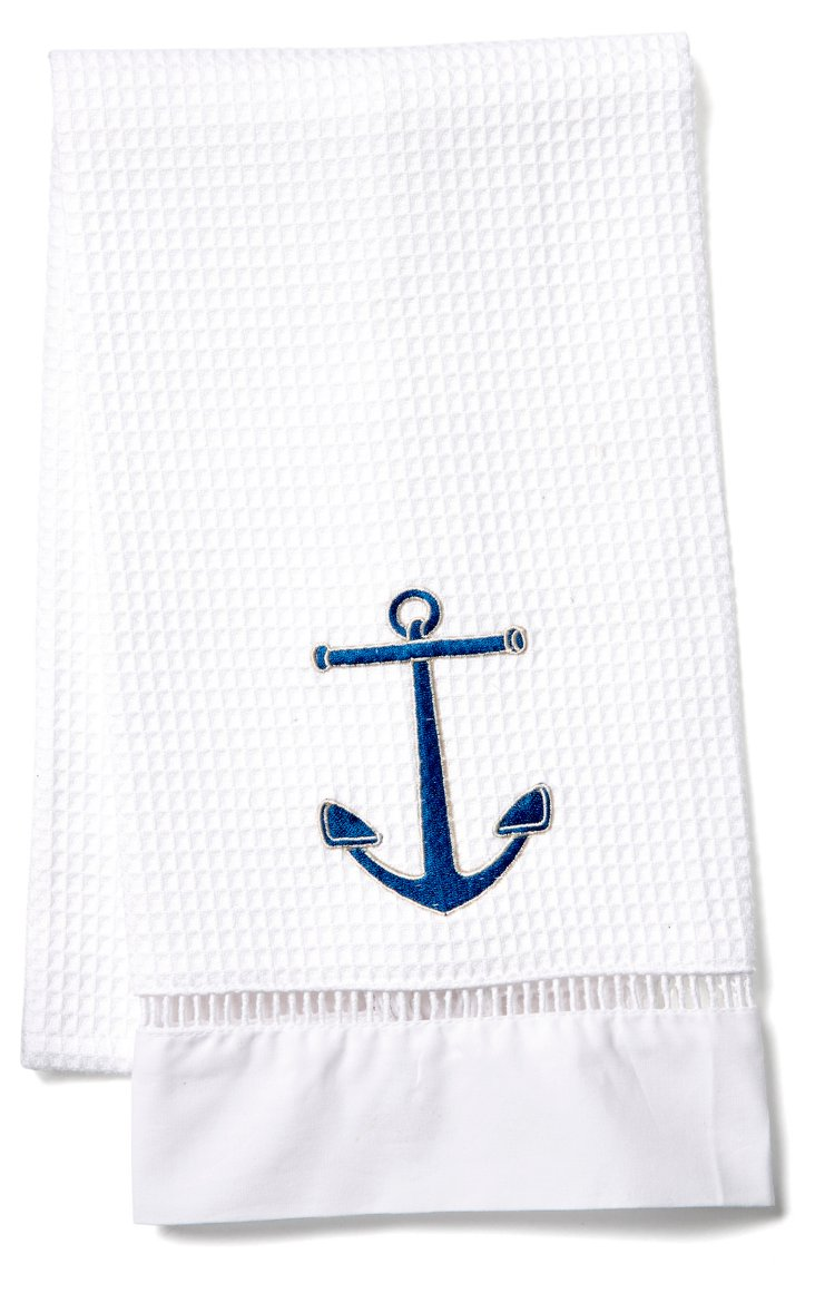 Anchor Waffle Weave Towel, Navy