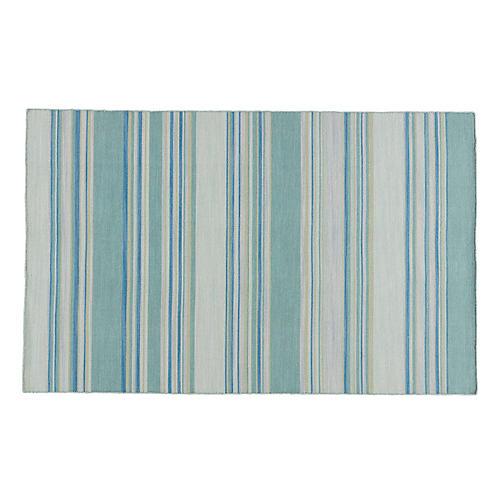 Leah Flat-Weave Dhurrie, Porcelain Blue