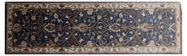 "2'6""x8' Quinn Runner, Deep Blue/Ivory"