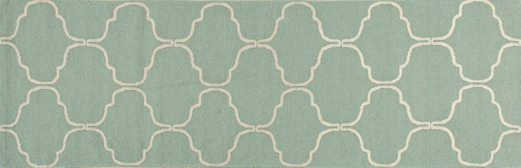 "2'6""x8' Serra Flat-Weave Runner, Seafoam"