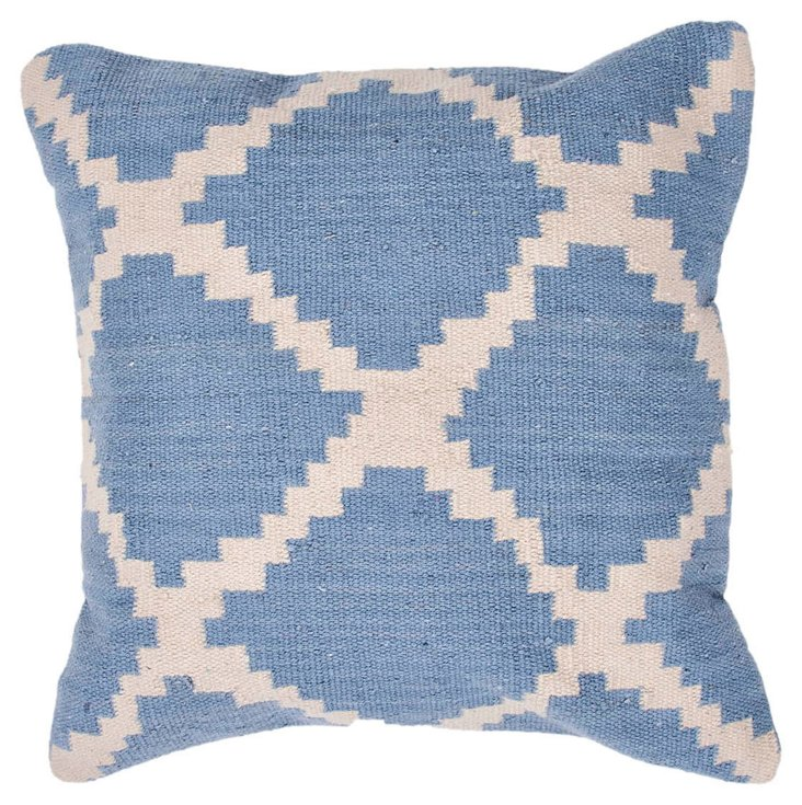Mirrored 18x18 Pillow, Sky Blue/Ivory
