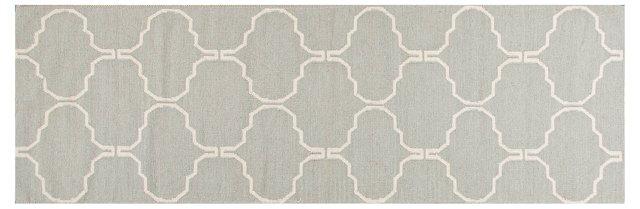 "2'6""x8' Serra Flat-Weave Runner, Gray"