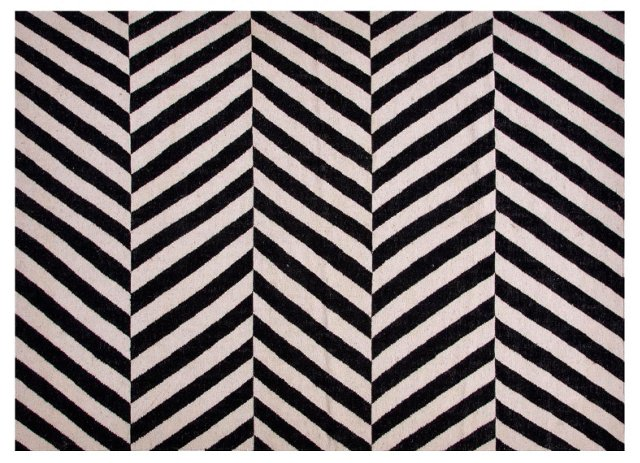 Loma Flat-Weave Rug, Gray/Black