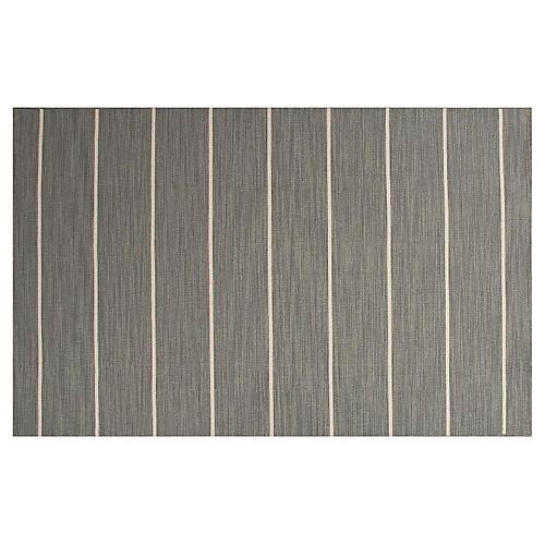 Stripe Flat-Weave Rug, Gray/Ivory