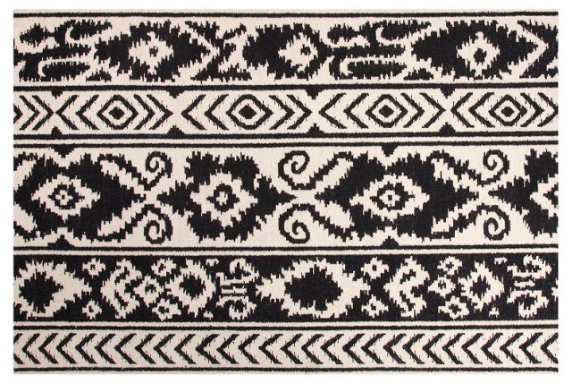 Lucy Flat-Weave Rug, Black