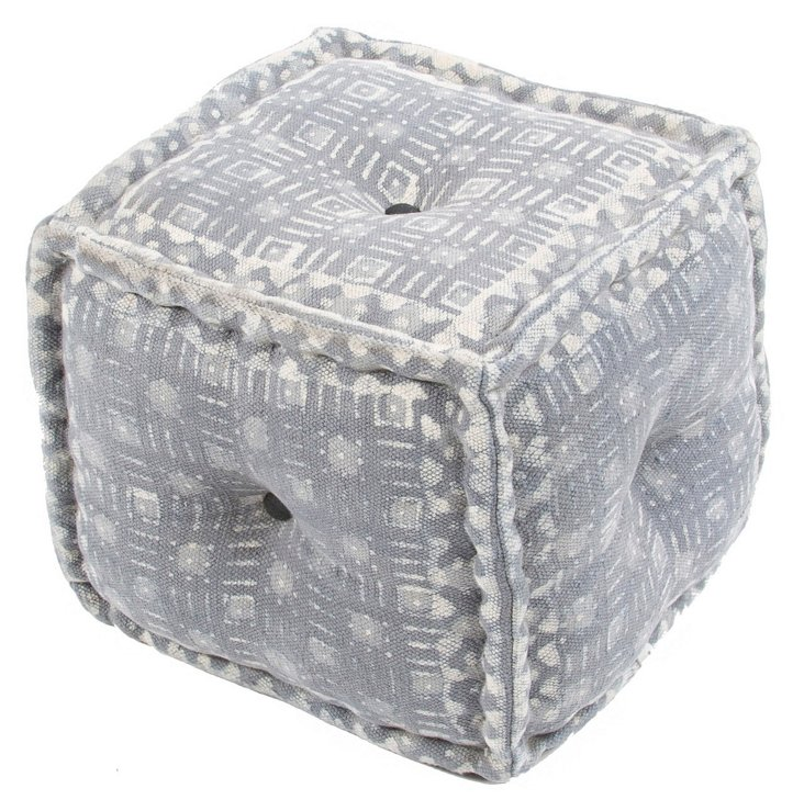 Jenna Pouf, Gray/White