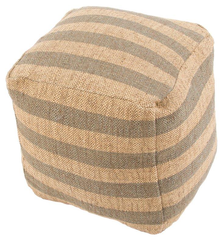 Kellen Wool Pouf, Gray/Natural