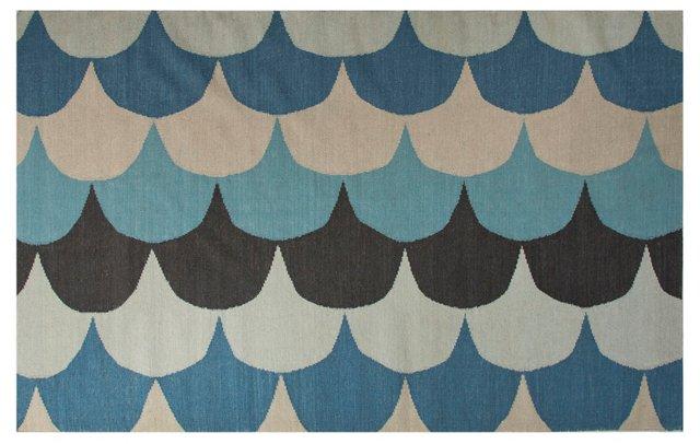Cyclon Flat-Weave Rug, Blue