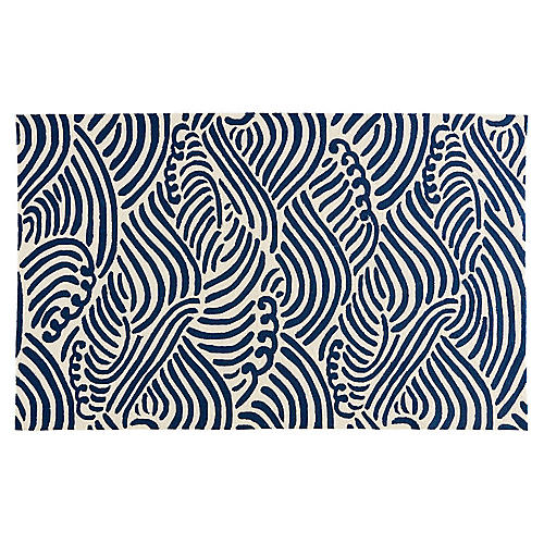 Mason Outdoor Rug, White/Blue