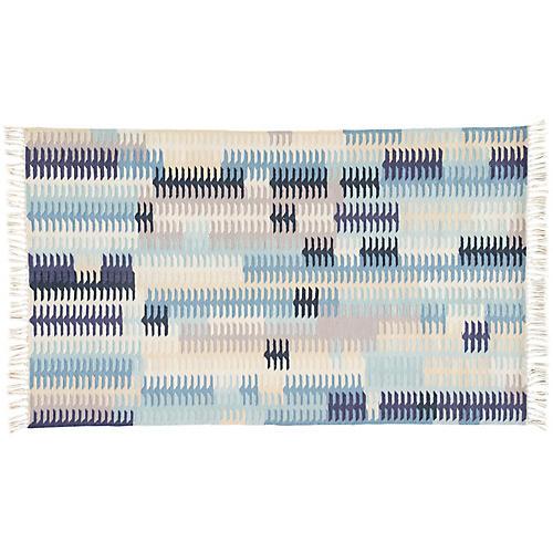 Wilton Outdoor Rug, Blue/Gray