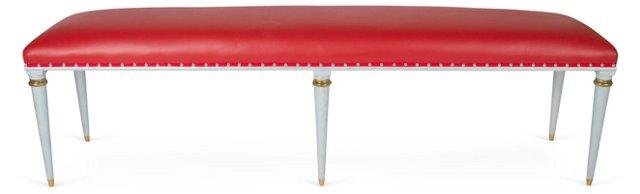 20th-C. Red Vinyl Bench