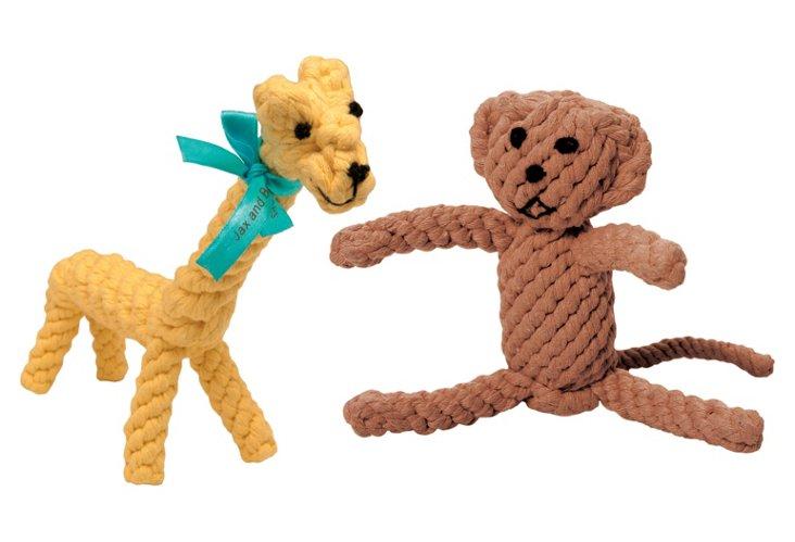 Giraffe and Monkey Rope Toys