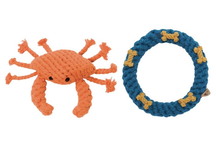 Dog Rope Toys, Crab and Ring