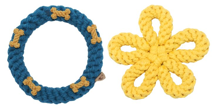 Yellow Flower & Teal Ring Rope Toys