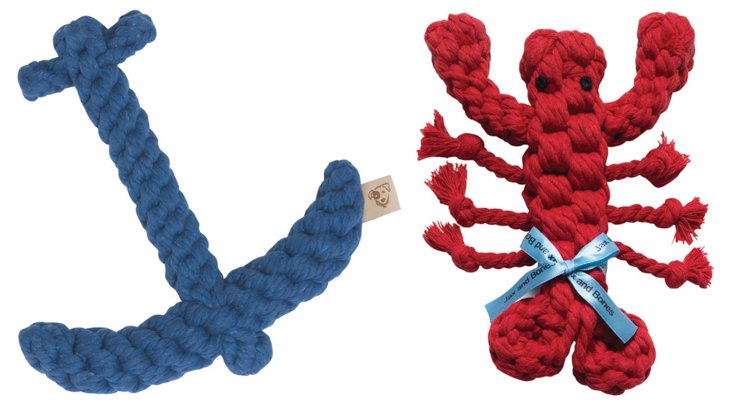 S/2 Anchor And Lobster Rope Toys