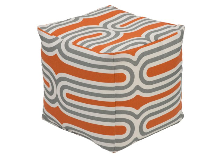 Lizzy Pouf, Orange/Gray