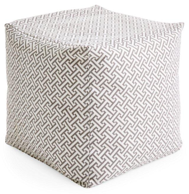 Molly Cube Pouf, Gray Maze