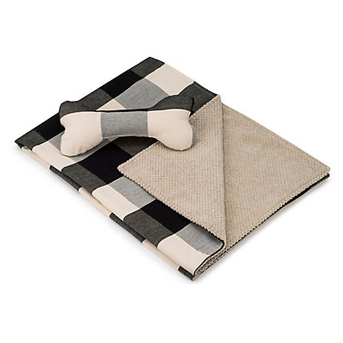 Blanket & Bone Toy Set, Graphite