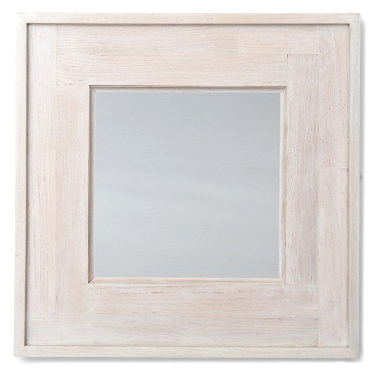 "Reclaimed Wood Mirror 24"", Whitewash Oak"