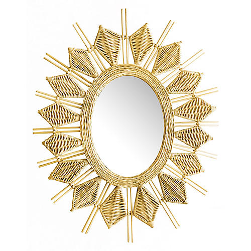 "Yala 34"" Wall Mirror, Natural"