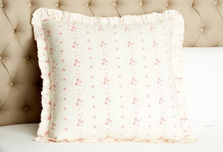 Hattie Rose Euro Sham, Pink/Cream