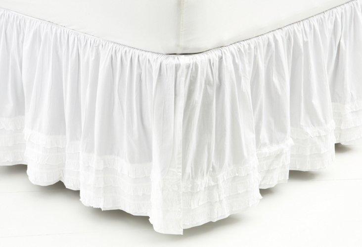 Ruffle  Bed Skirt, White