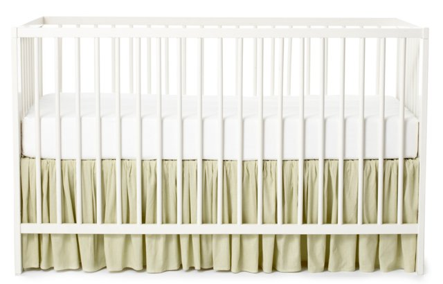Check Crib Bed Skirt, Sage